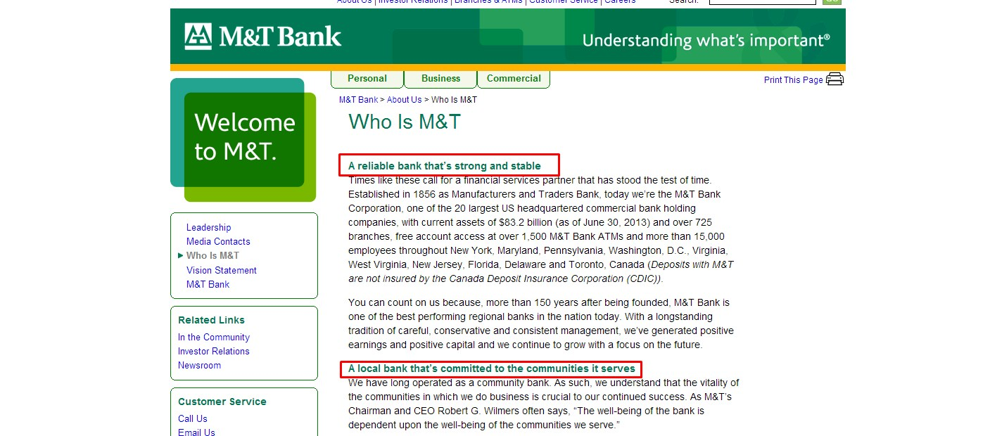 M&T Bank Value Statements