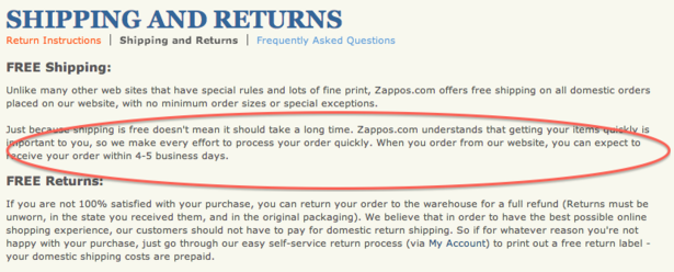 zappos shipping policy