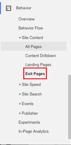 Google Analytics Exit Page report